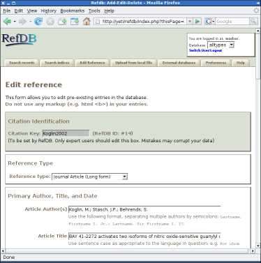 Editing references in the RefDB web interface